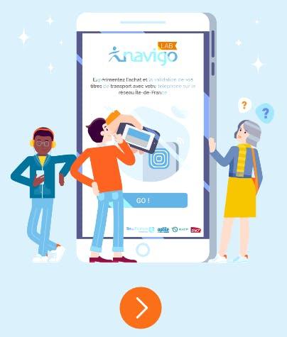 Infographie : Illustration application Navigo Lab sur smartphone