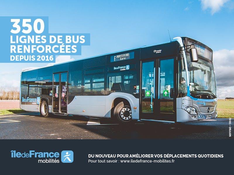 Visuel pour la campagne sur le renforcement des lignes de bus, ayant pour illustration un nouveau bus à l'arrêt