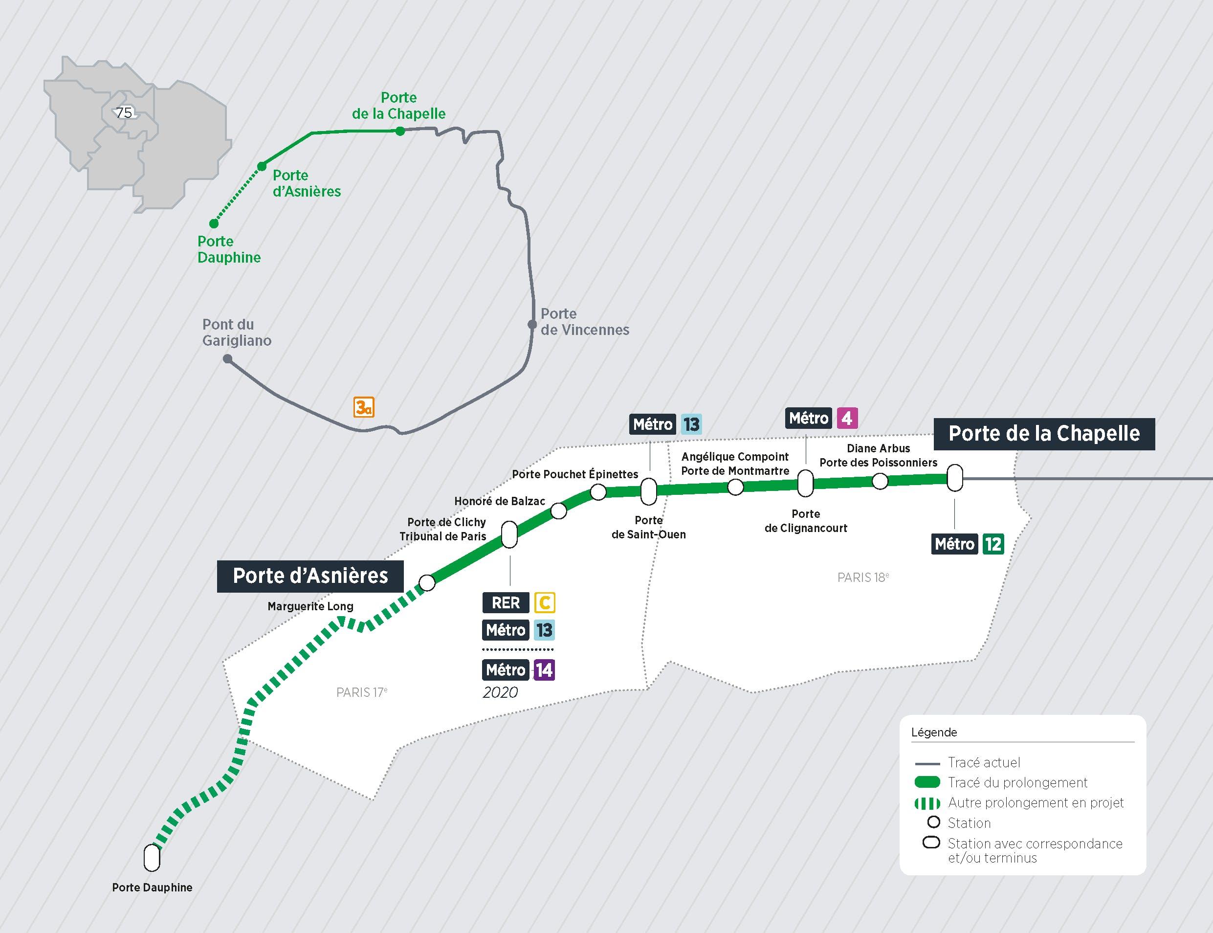 Plan du projet Tram ligne 3 b Prolongement Porte de la Chapelle > Porte d'Asnières