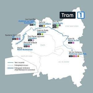 Infographie sur le tracé du prolongement du trame 1 (description ci-après)