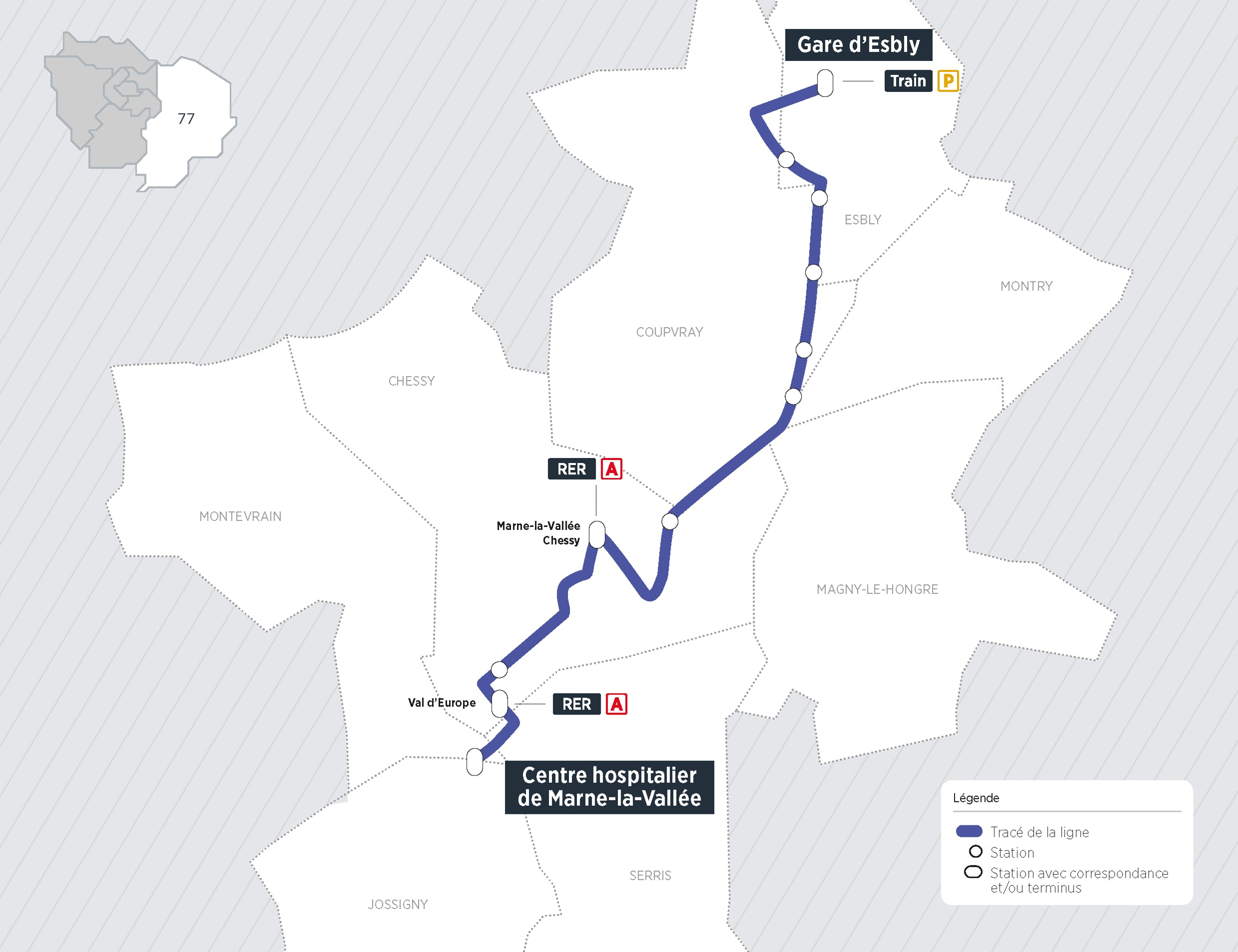 Plan du projet Bus Nouvelle ligne Esbly > Val d'Europe