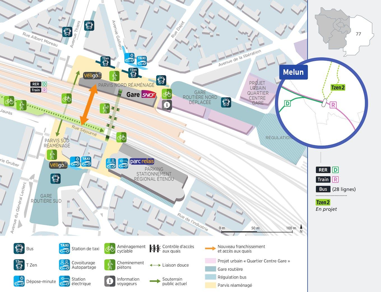 Plan du projet Pôle - Gare Réaménagement Pôle de Melun