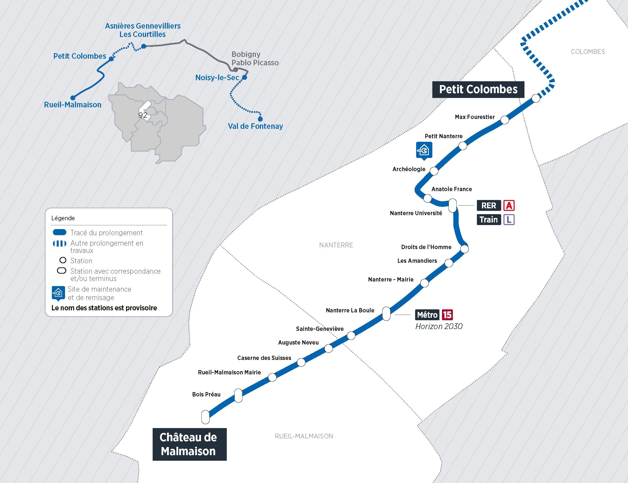 Plan du projet Tram ligne 1 Prolongement Nanterre > Rueil-Malmaison