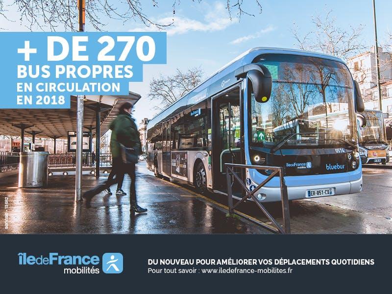 Bus propres à l'arrêt en île-de-France