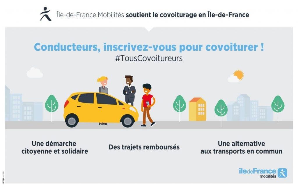 Infographie : Île-de-France Mobilités soutien le covoiturage