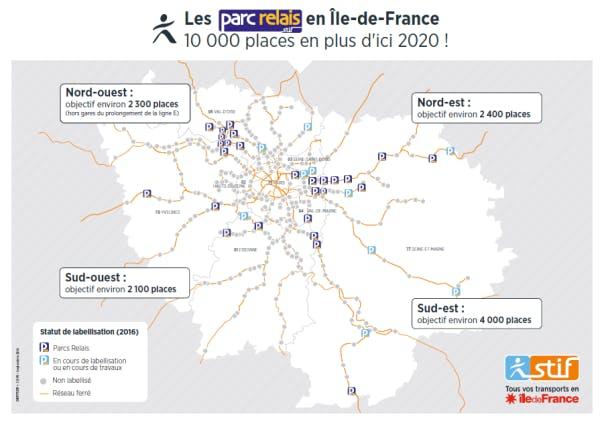 Plan emplacement des parcs relais en île-de-France