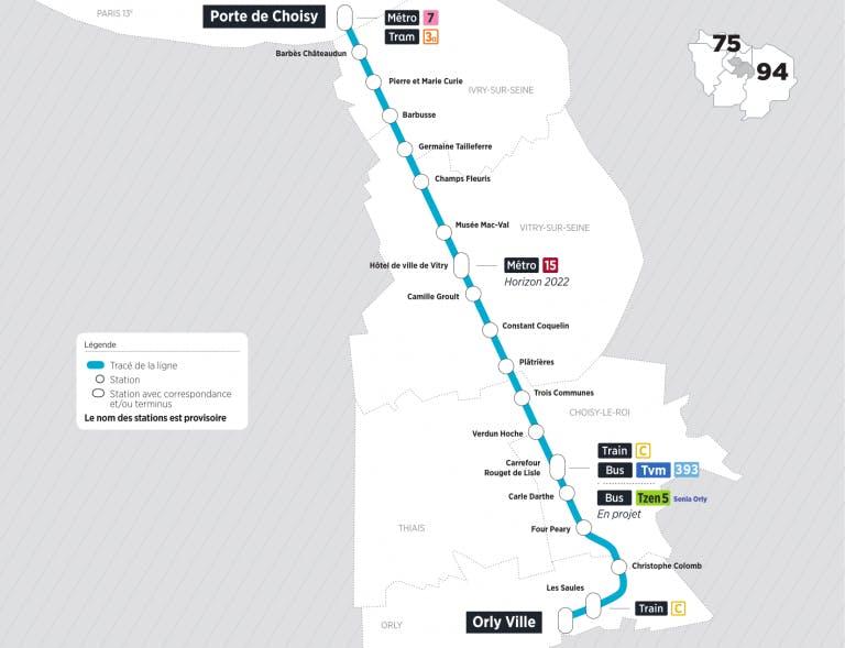 Le tracé du Tram 9 de Orly-ville à Porte de choisy
