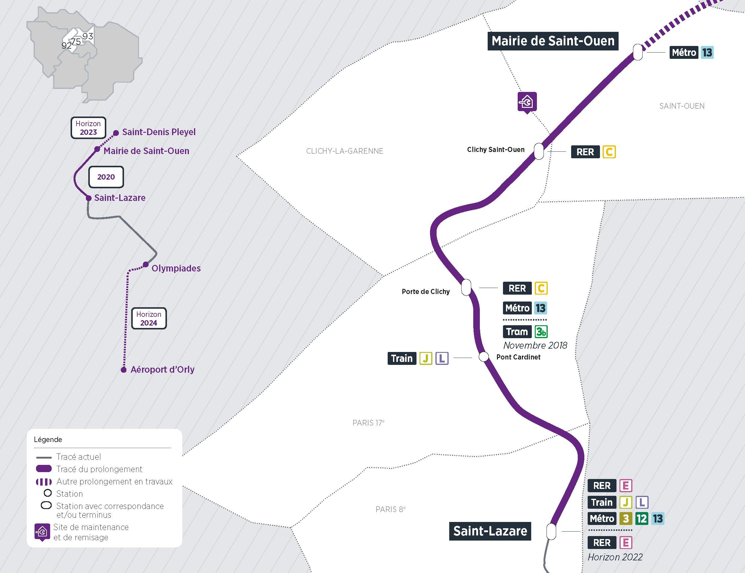 Plan du projet Métro ligne 14 Prolongement Saint-Lazare > Mairie de Saint-Ouen