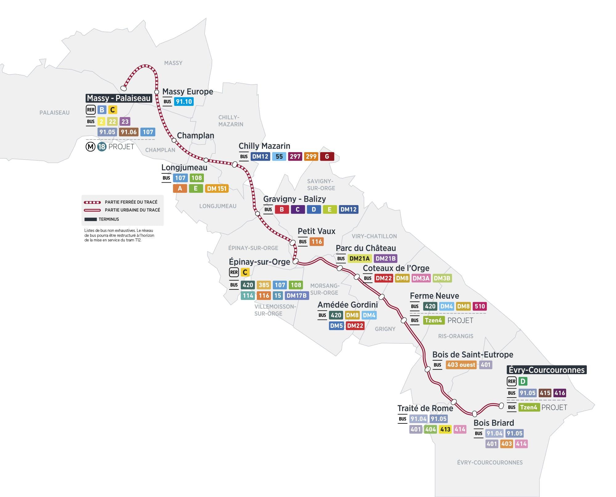 Plan du projet Tram ligne 12 Nouvelle ligne Massy > Evry-Courcouronnes