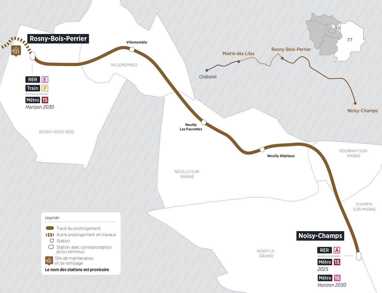 Plan du projet Métro ligne 11 Prolongement Rosny-Bois-Perrier > Noisy-Champs