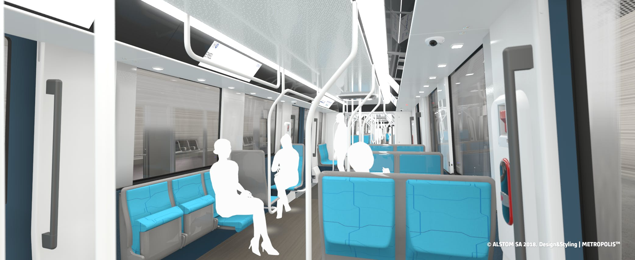Design intérieur métro avec des personnes assises et arrêtées, proposé au voyageurs