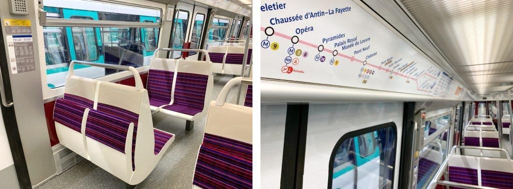 Perspective sur l'intérieur des métros rénovées