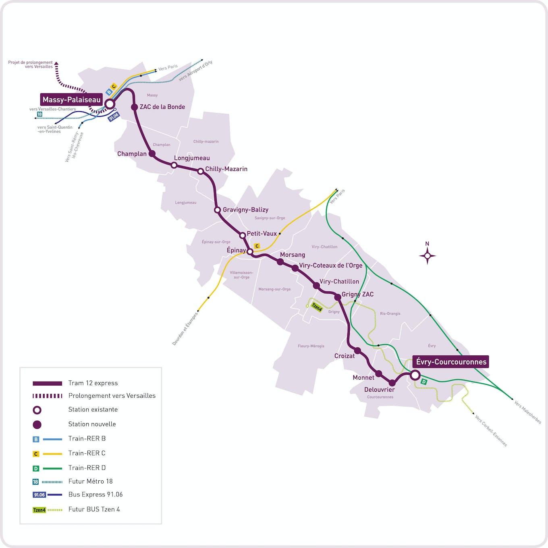 Le tracé de la ligne du Tram 12