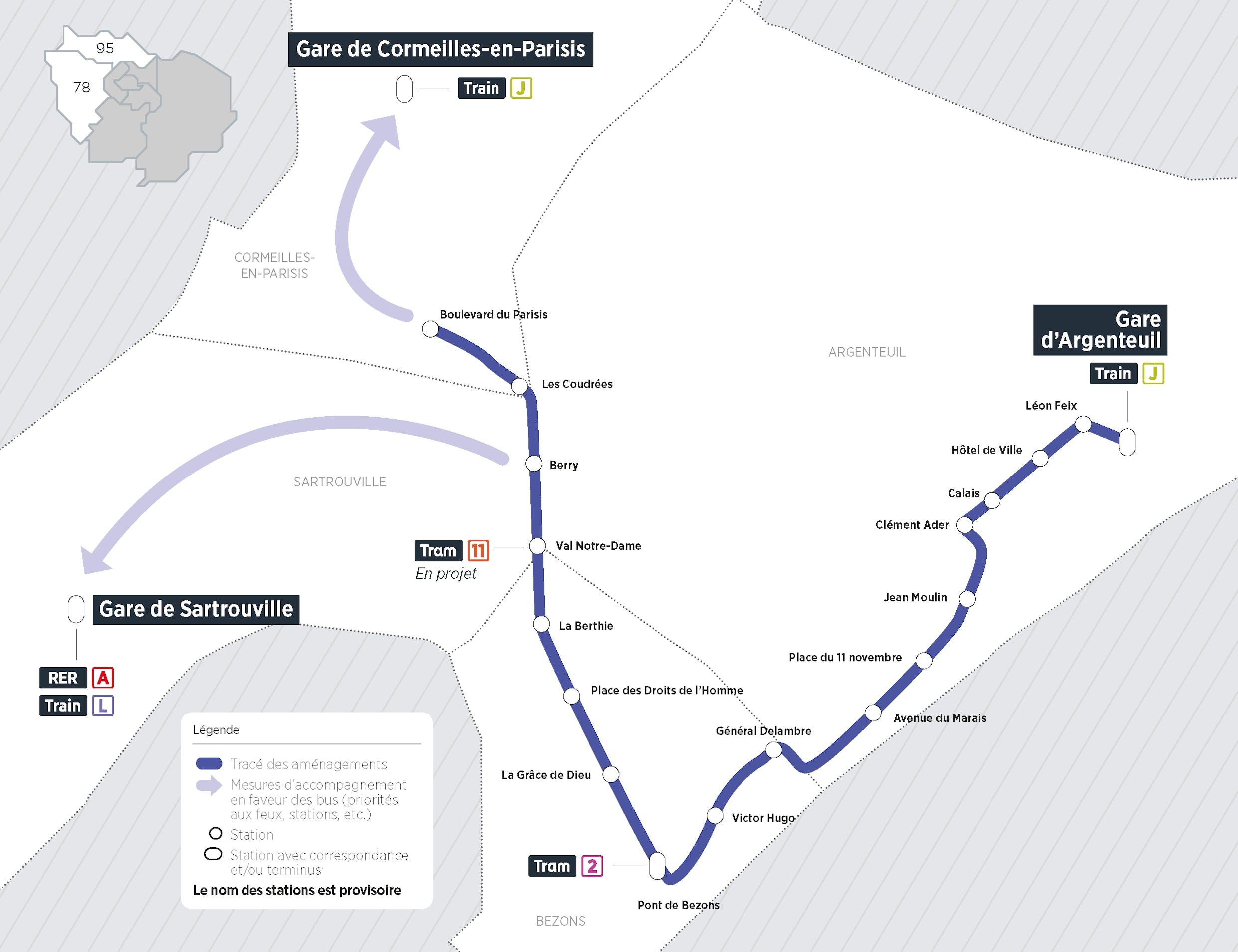 Plan du projet Bus ligne entre seine Aménagements dédiés au bus Argenteuil > Bezons > Sartrouville > Cormeilles