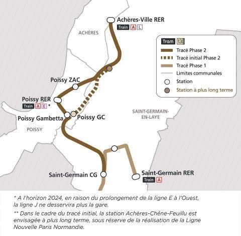 Infographie : Tracé du Tram 13 dans les Yvelines