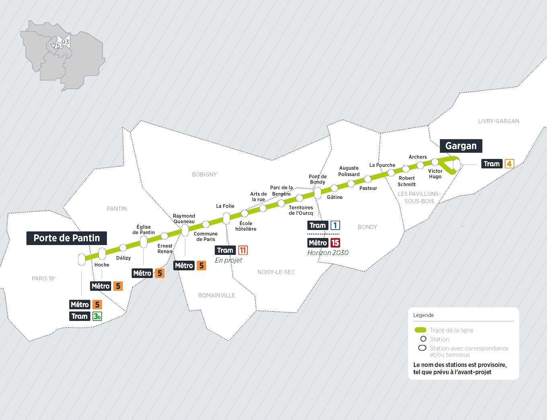 Plan du projet Bus Tzen 3 Nouvelle ligne Paris > Gargan