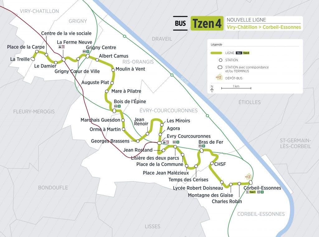 Le tracé du T Zen 4 de Viry-Châtillon à Corbeil-Essonnes