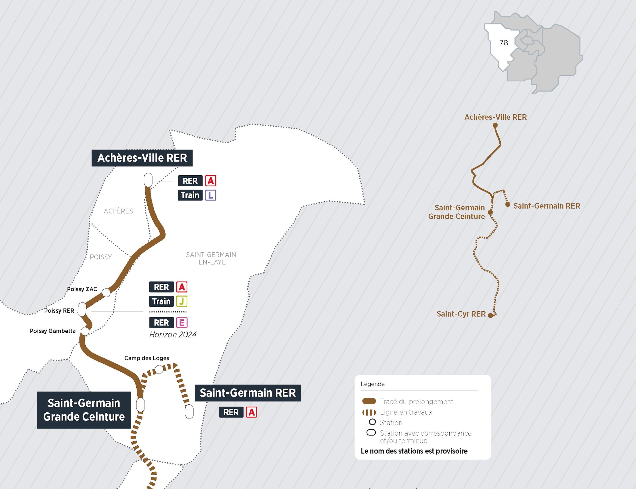 Plan du projet Tram ligne 13 Prolongement Saint-Germain > Achères