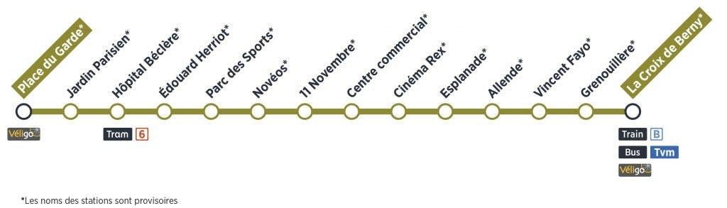 Tracé du passage du Tram 10 et le nom des arrêts