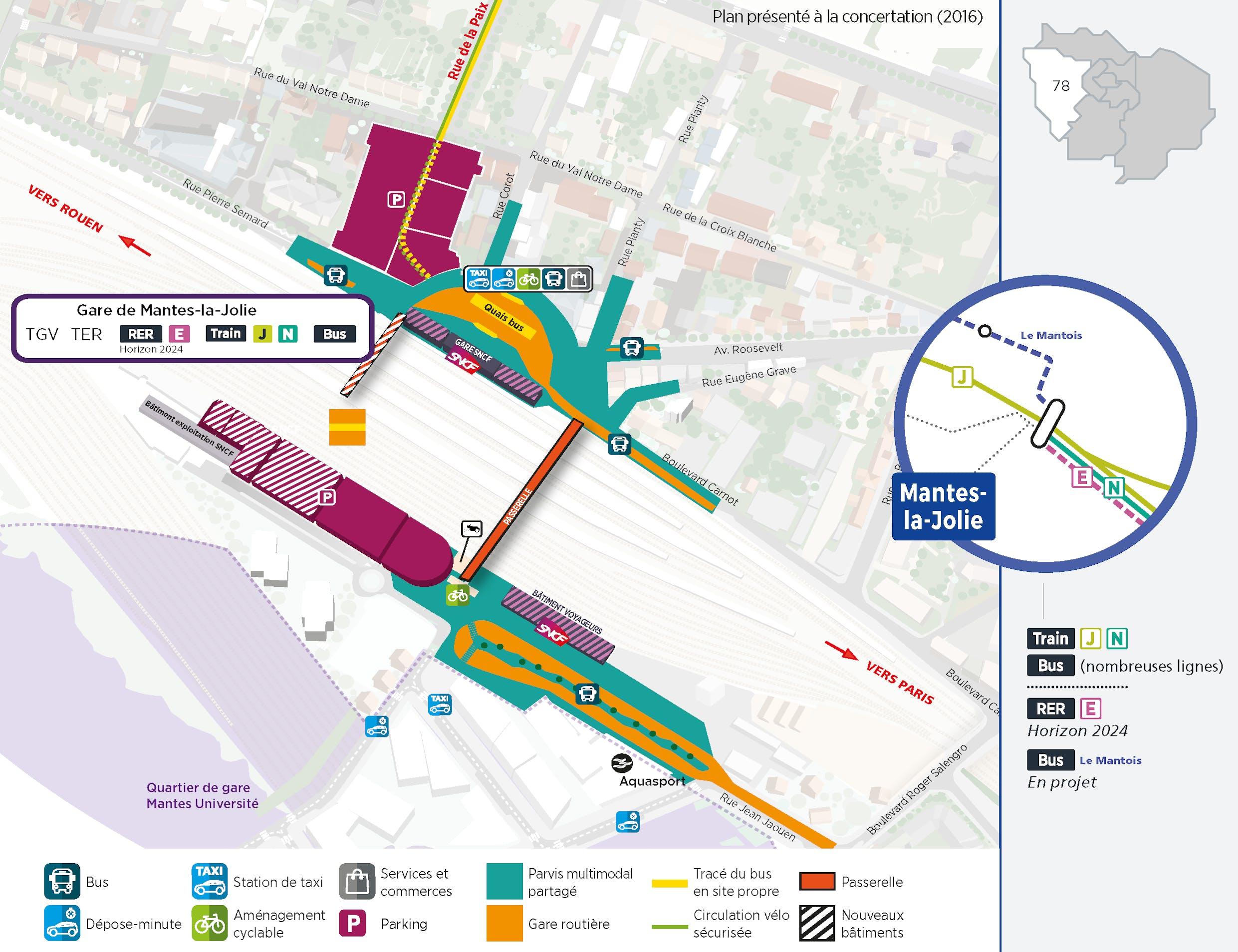 Plan du projet Pôle - Gare Réaménagement Mantes-la-Jolie