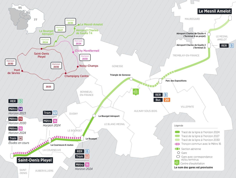 Plan du projet Métro ligne 17 Nouvelle ligne Saint-Denis Pleyel > Le Mesnil Amelot