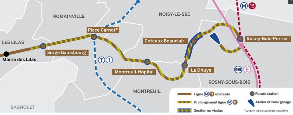 Plan du prolongement de la ligne 11