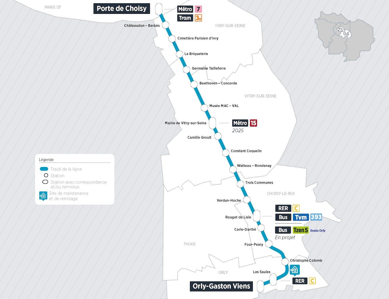 Plan du projet Tram ligne 9 Nouvelle ligne Paris > Orly-ville