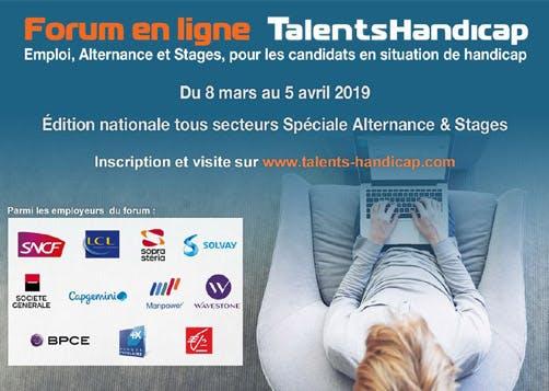 Forum en ligne TalentsHandicap : du 8 mars au 5 avril 2019