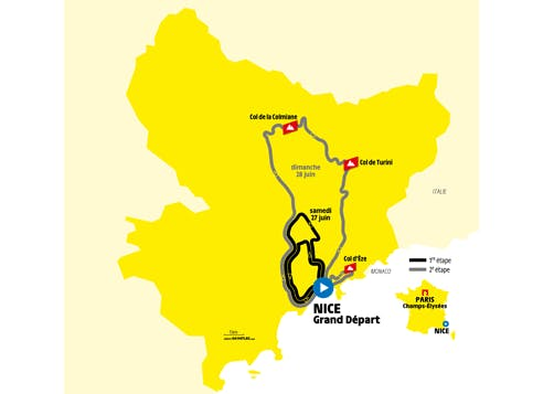 Carte du Grand Départ du Tour de France 2020