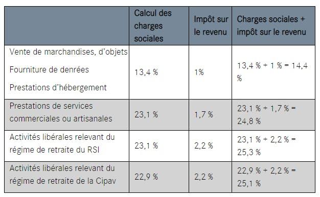 calcul impot revenu auto entrepreneur