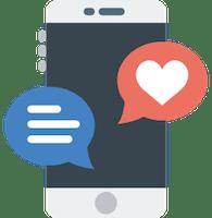 Celular com símbolos de mensagem e redes sociais.