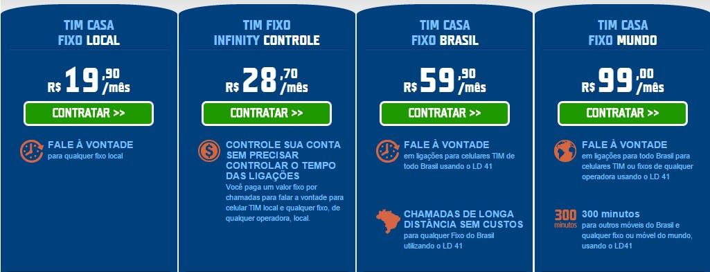 TIM minutos - internet e telefone fixo