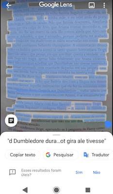 Google Lens - Texto escaneado