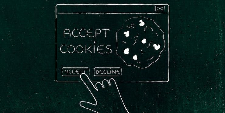 """Ilustração de clique na tela de """"aceitar cookies"""" do navegador"""
