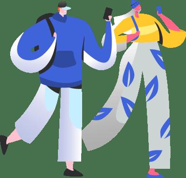 Duas pessoas em ilustração aproveitando o Plano Vivo Controle