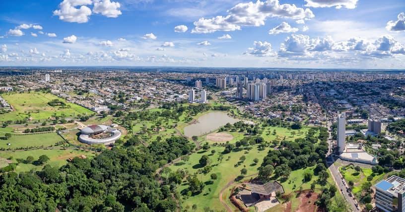Fotografia áerea de Campo Grande, no Mato Grosso do Sul.