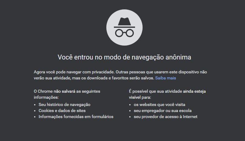 Modo anônimo do Chrome não armazena cookies