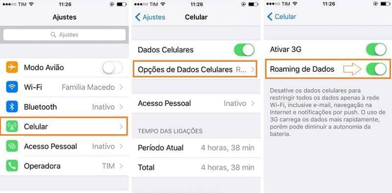 como ativar dados roaming iphone