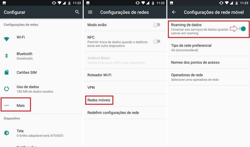 dados roaming android