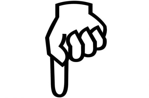ilustração mão apontando para baixo