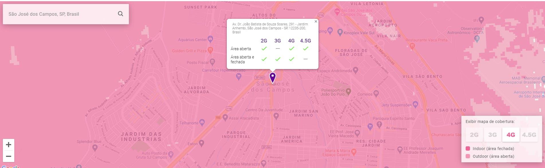 Maps de Cobertura Vivo Internet Móvel em São José dos Campos,SP, Brasil.