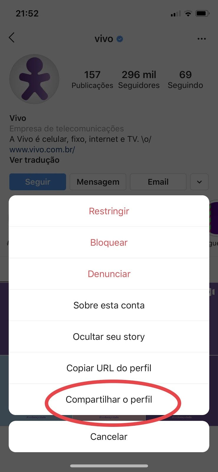 Instagram Direct: enviando perfil