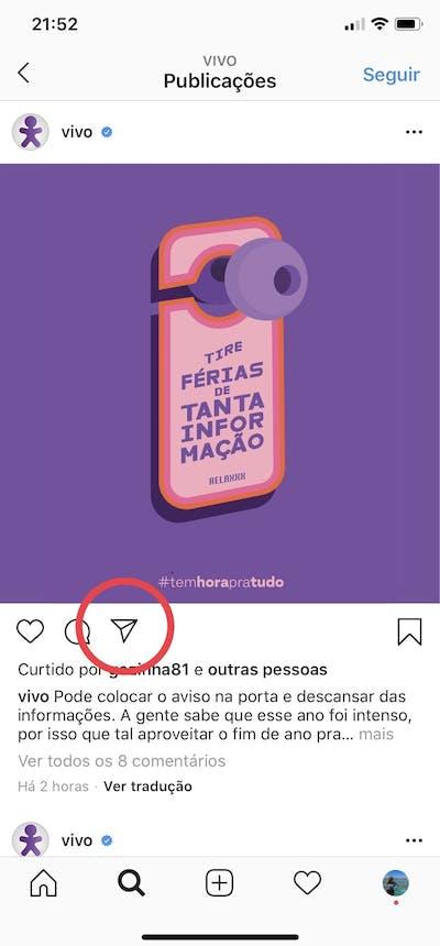 Instagram Direct: compartilhando publicação