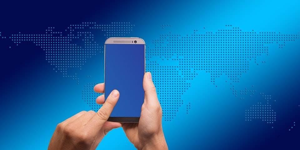 telefone móvel azul