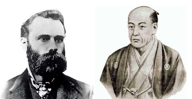 À direita, Charles Dow, e à esquerda, Munehisa Homma