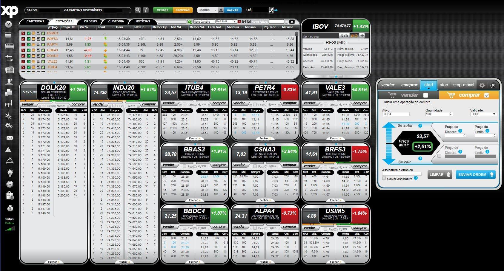 Home Broker XP: interface mais simples, com recursos básicos.