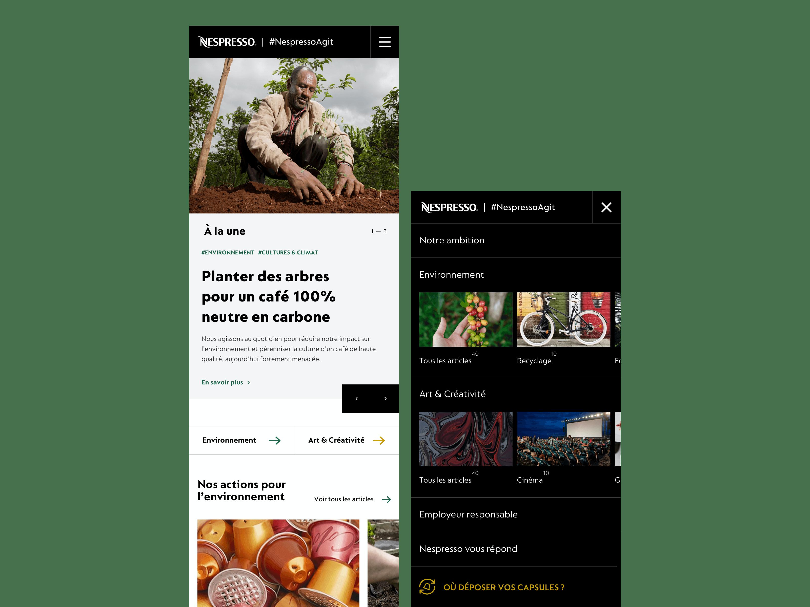 Nespresso agit homepage mobile