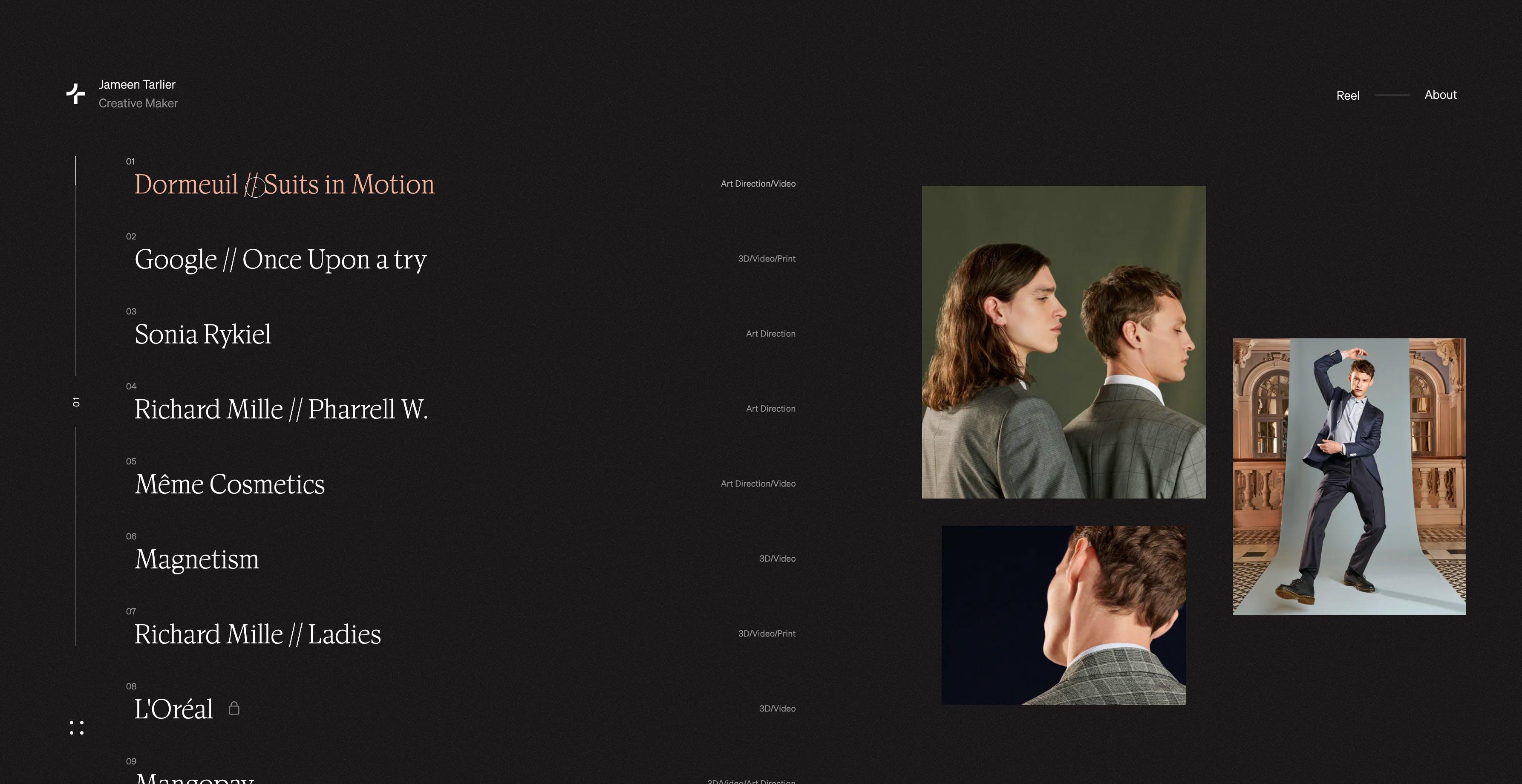 Jameen Tarlier website homepage