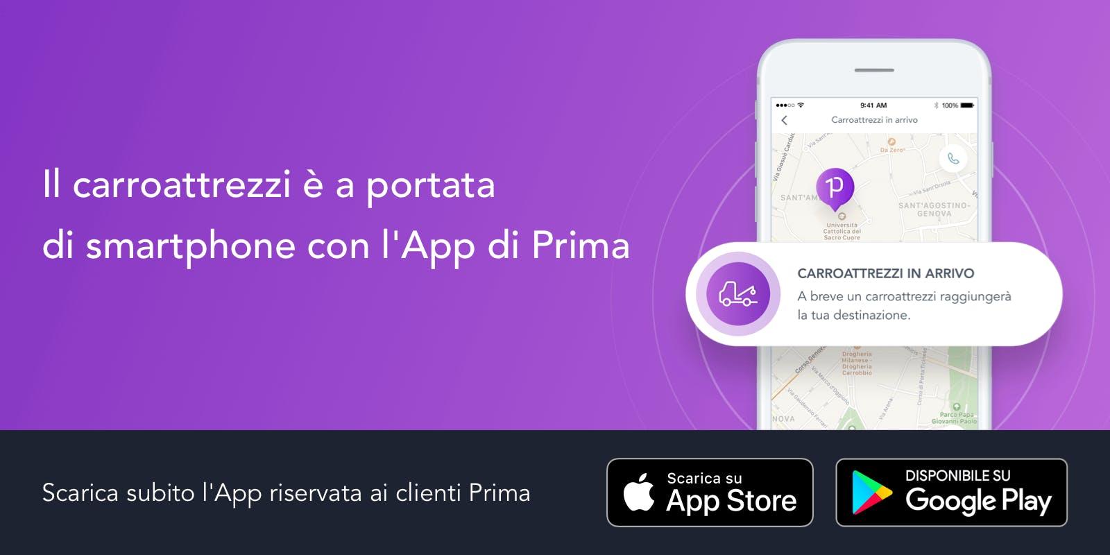 Assistenza stradale con l'App di Prima