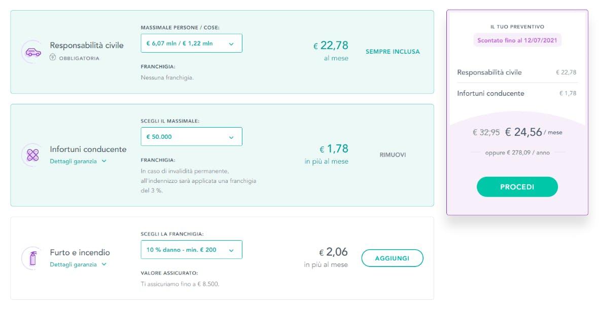 Acquisto garanzie accessorie a pagamento mensile su Prima.it